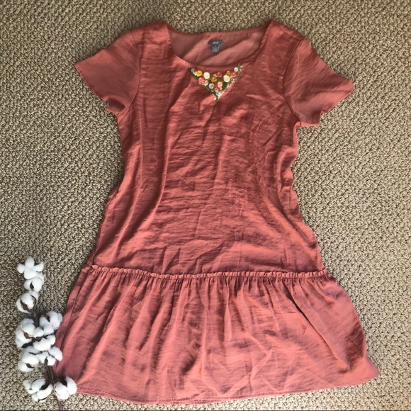 aerie Tops - Dusty rose tunic with hand embroidered collar rust